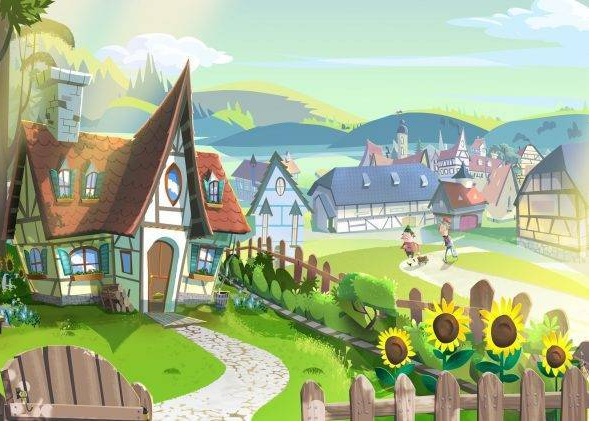 273796-digital_art-drawing-illustration-fairy_tale-house-village-fence-path-trees-hill-sunflowers-old_people-clouds-sunlight-748x421